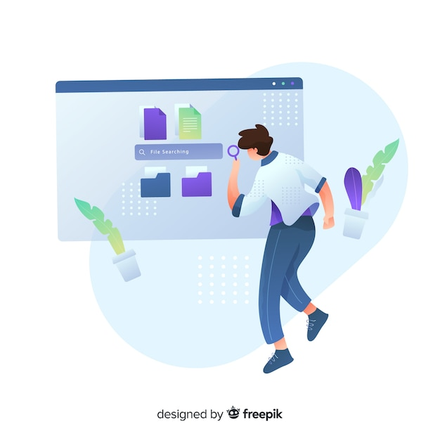 Folder searching concept for landing page Free Vector