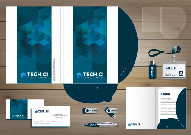 Folder template design. digital technology company, corporate identity stationery, people community friends presentation design used for business or working promotion, Premium Vector