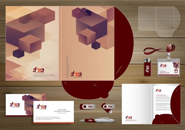 Folder template design for digital technology company Premium Vector