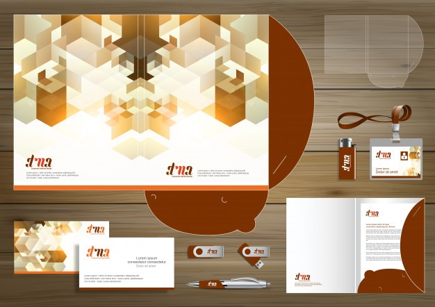 Folder template design for digital technology company Premium Vector