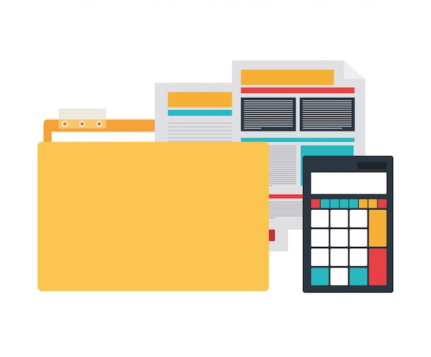 Folder with office objects Premium Vector