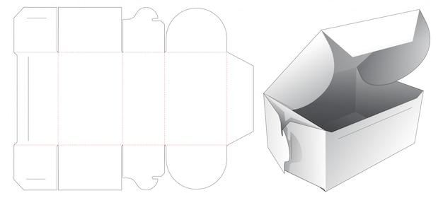 접이식 케이크 상자 다이 컷 템플릿 디자인 프리미엄 벡터