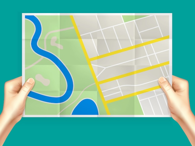 Folding city map composition Free Vector