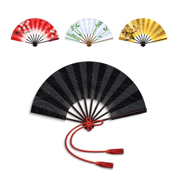 Folding fan set Free Vector