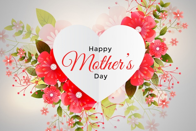 Foliage decoration for happy mother's day Free Vector