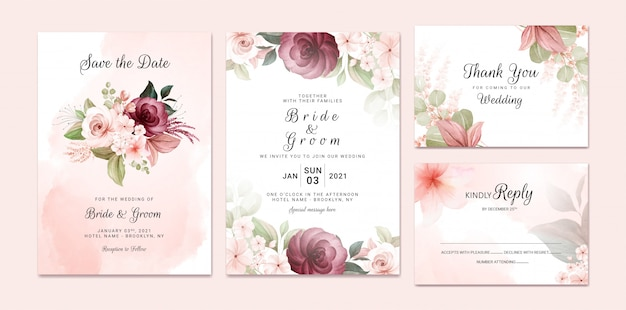 Foliage wedding invitation template set with burgundy and brown watercolor floral bouquet and border decoration. botanic card design concept Premium Vector