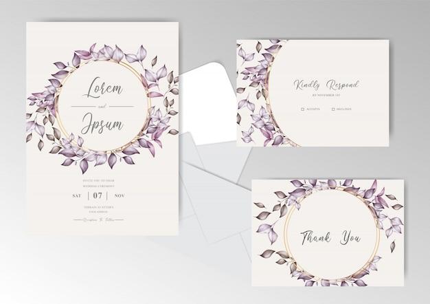 葉の花輪水彩結婚式の招待カードセットテンプレート Premiumベクター
