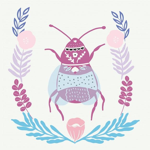 Folk art bug with floral element ornament scandinavian style Premium Vector
