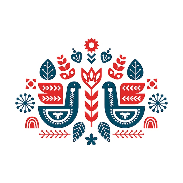 Folk art composition with birds and decorative elements. Premium Vector