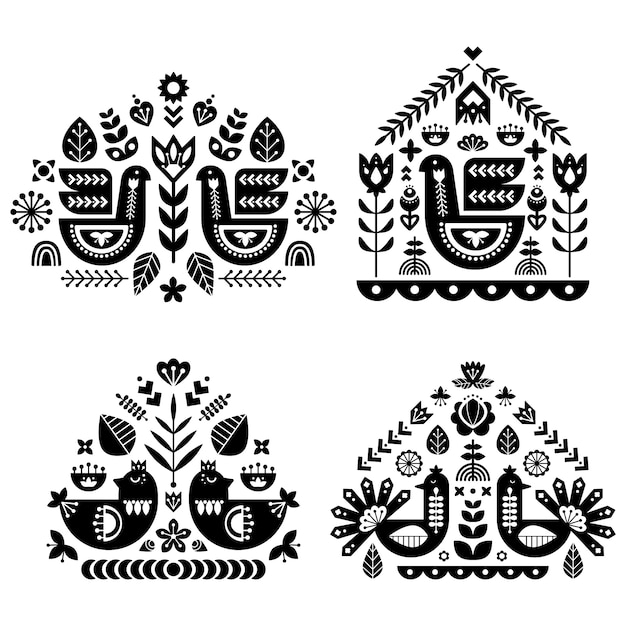 Folk art pattern collection with four single pattern. Premium Vector