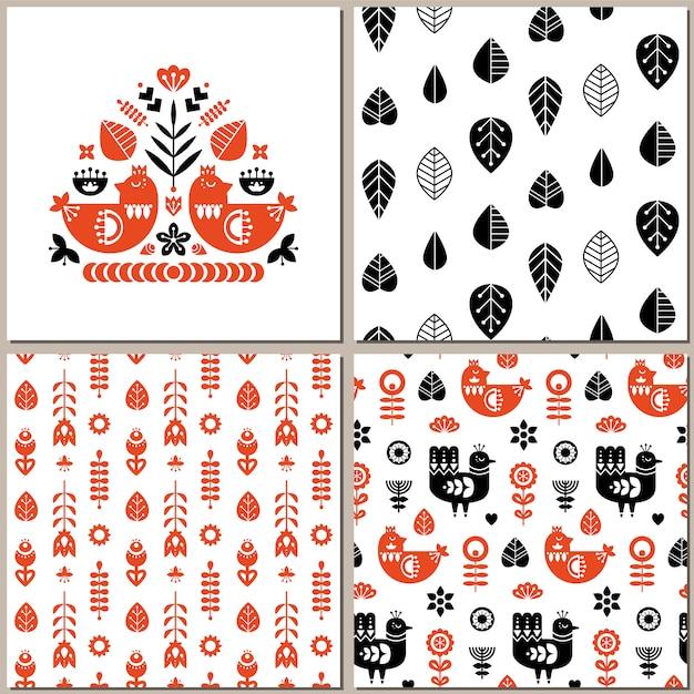 Folk art pattern collection Premium Vector