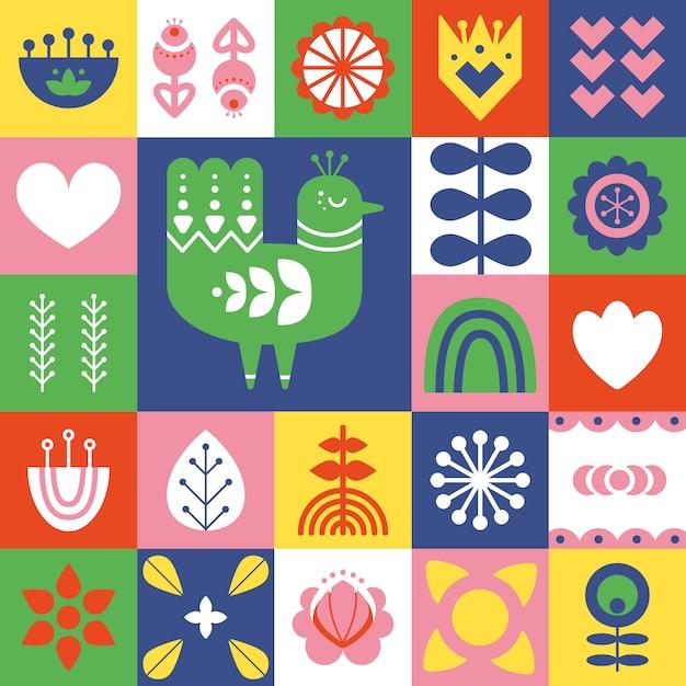 Folk art pattern with bird and decorative elements. Premium Vector