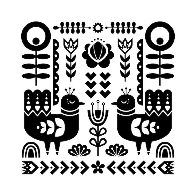 Folk art pattern with birds. Premium Vector