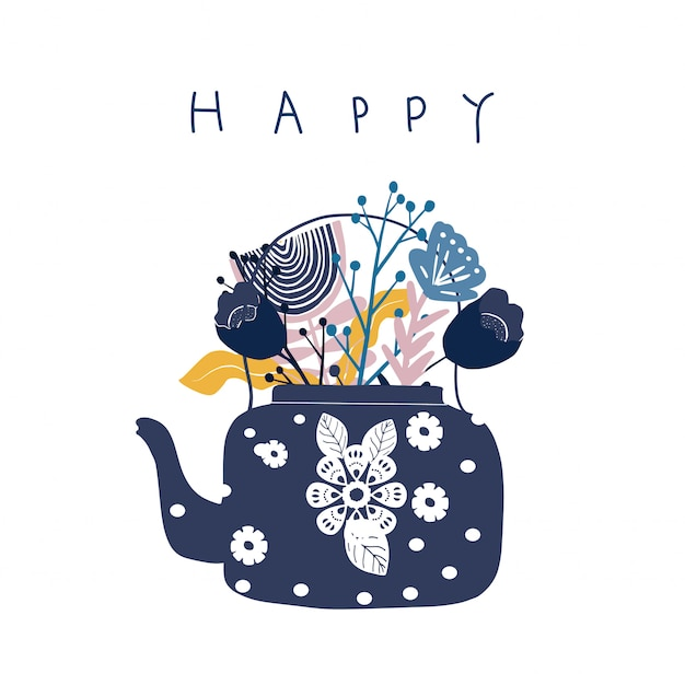 Folk art tea pot with flower block print vector illustration Premium Vector