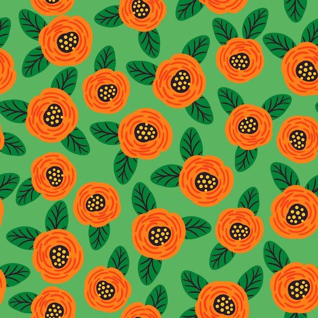 民俗花柄シームレスパターン。モダンな抽象的なデザイン Premiumベクター
