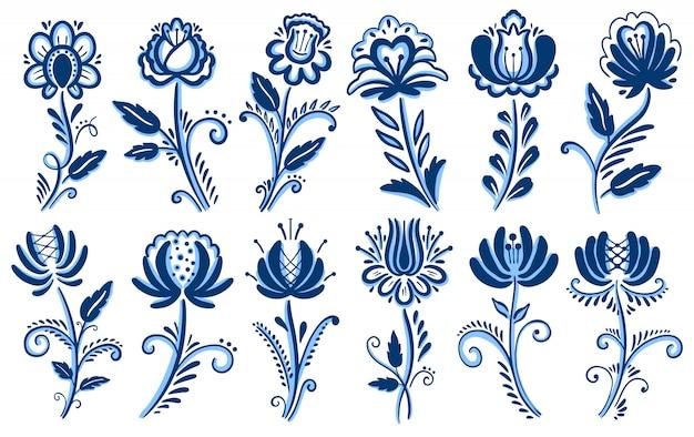 Folk motif gzhel ornament. Premium Vector