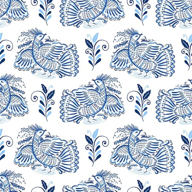Folk motif gzhel ornament Premium Vector