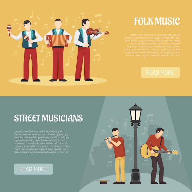 Folk and street musicians horizontal banners Free Vector