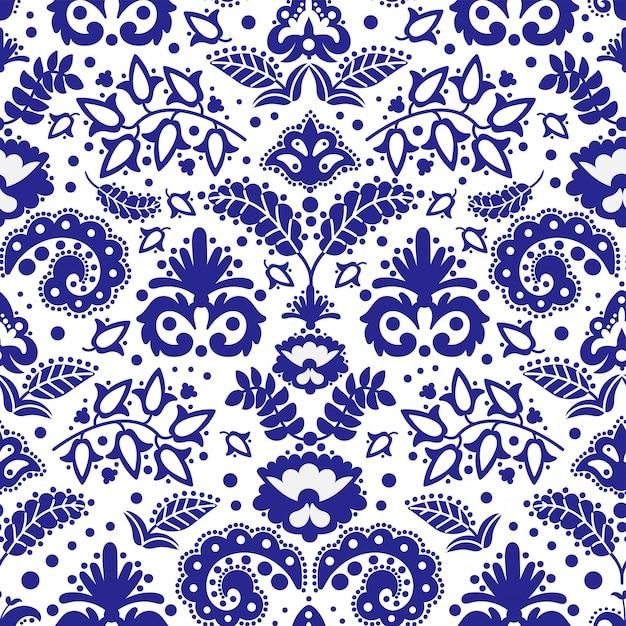 Folk tatar blue ornament seamless pattern  illustration Premium Vector