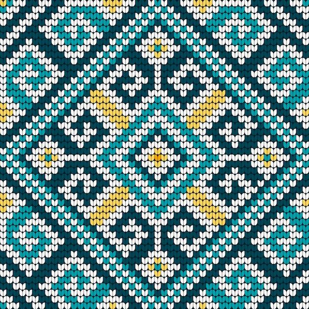 Folk traditional knitting pattern Premium Vector