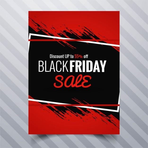 Folleto rojo, tinta negra, viernes negro Free Vector