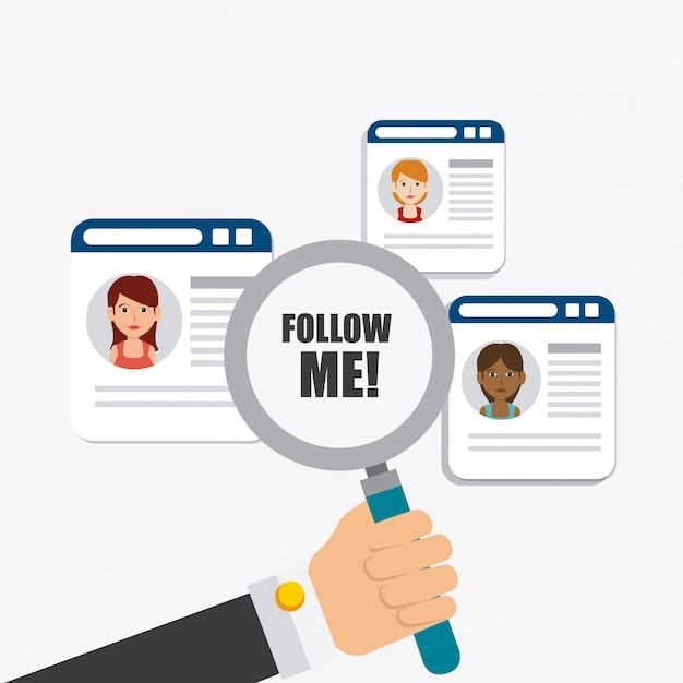 Follow me social and business theme design Free Vector