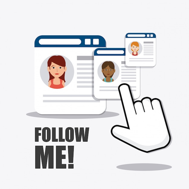 Follow me social and business Free Vector