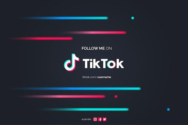Follow me on tiktok background Free Vector