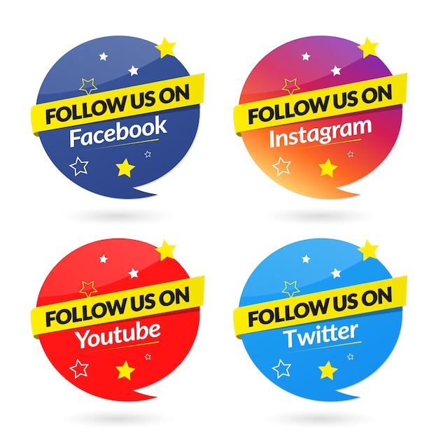 Follow us on social media banners collection Premium Vector
