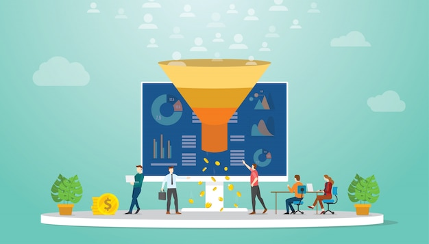 Followers or users monetization team marketing strategy concept Premium Vector