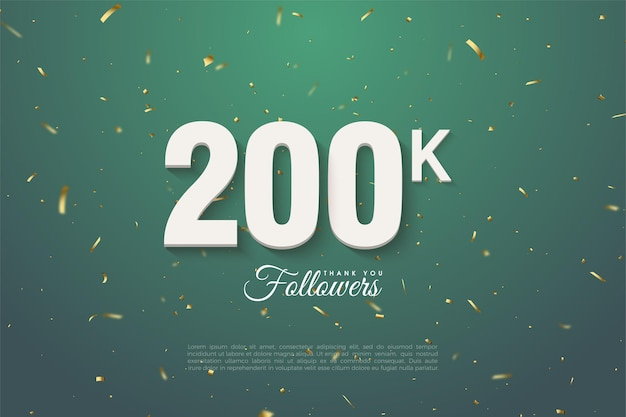 Followers with numbers on green speckled leaf green background. Premium Vector
