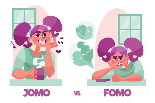 Fomo vs jomo concept illustrato Vettore gratuito