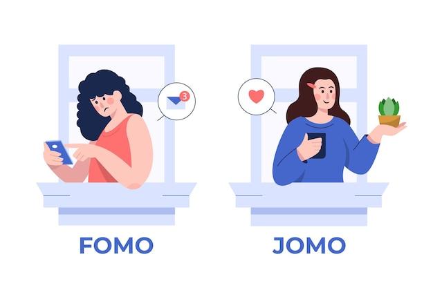 Fomo 대 Jomo 개념 프리미엄 벡터