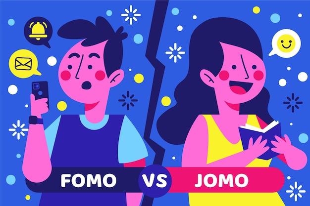 Concetto di fomo vs jomo Vettore gratuito