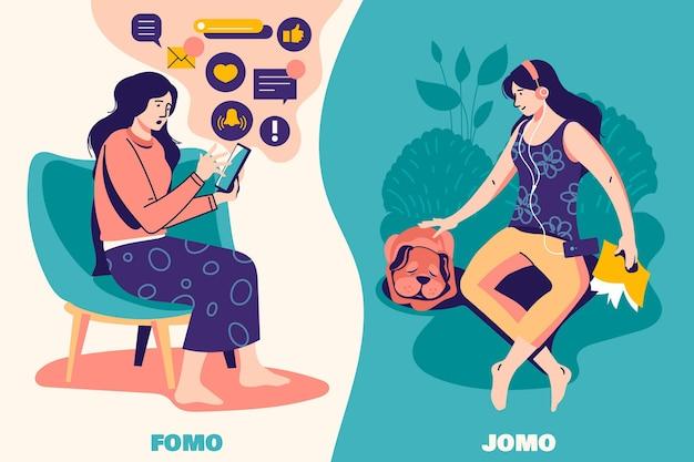 Fomo vs jomo 개념 무료 벡터