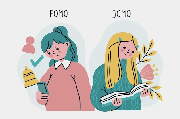 Fomo vs jomo 일러스트 스타일 무료 벡터