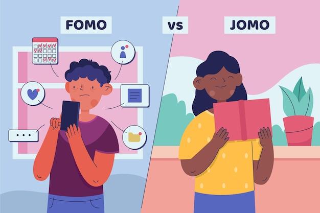 Fomo vs jomo illustrazione concetto Vettore gratuito