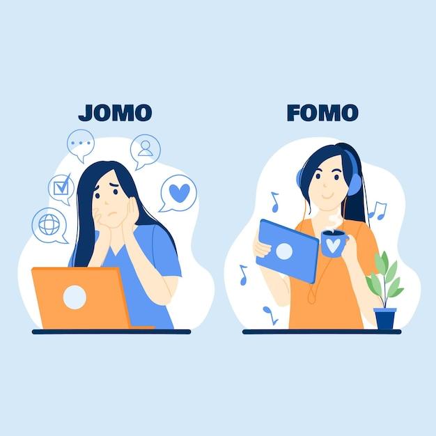 Illustrazione di fomo vs jomo Vettore gratuito