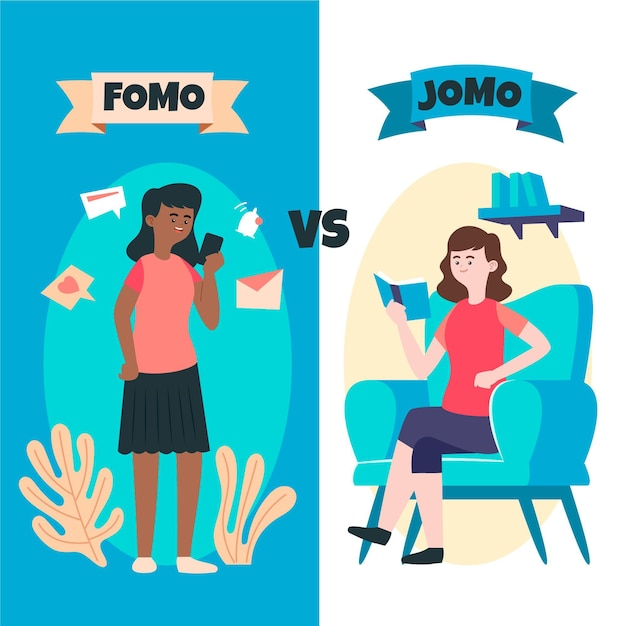 Fomo vs jomo Vettore gratuito