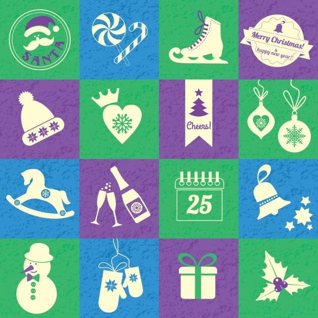 Fondo de navidad con cuadros de colores vector free download for Cuadros de navidad