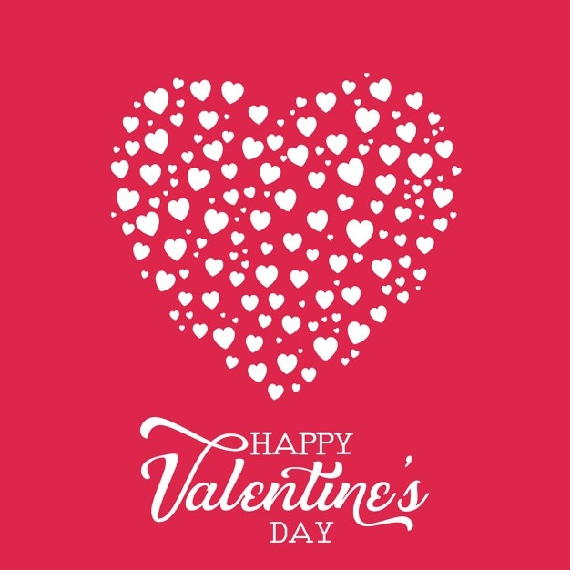 Fondo rojo con corazones blancos para san valent n vector - Corazones de san valentin ...