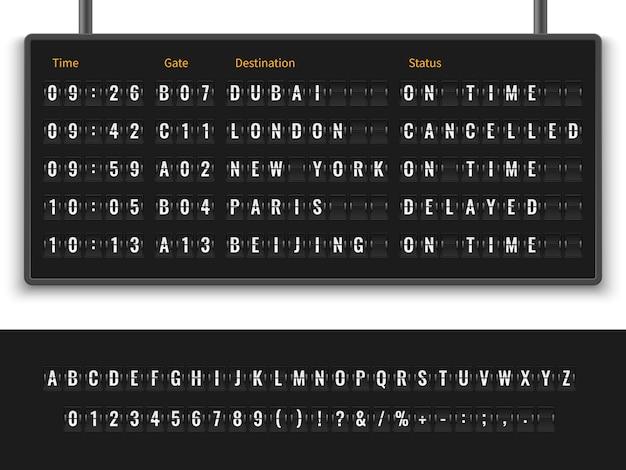 Font alphabet info panel arrival departure display timetable destination flight terminal Premium Vector