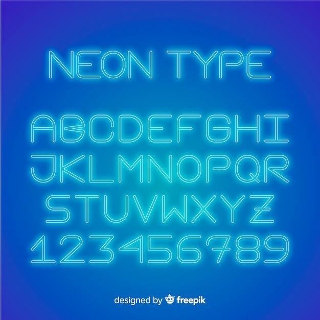Font alphabet in neon style Free Vector