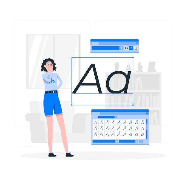 글꼴 개념 그림 무료 벡터