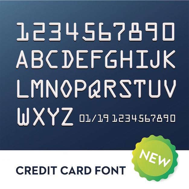 Font for credit cards. typography alphabet Premium Vector