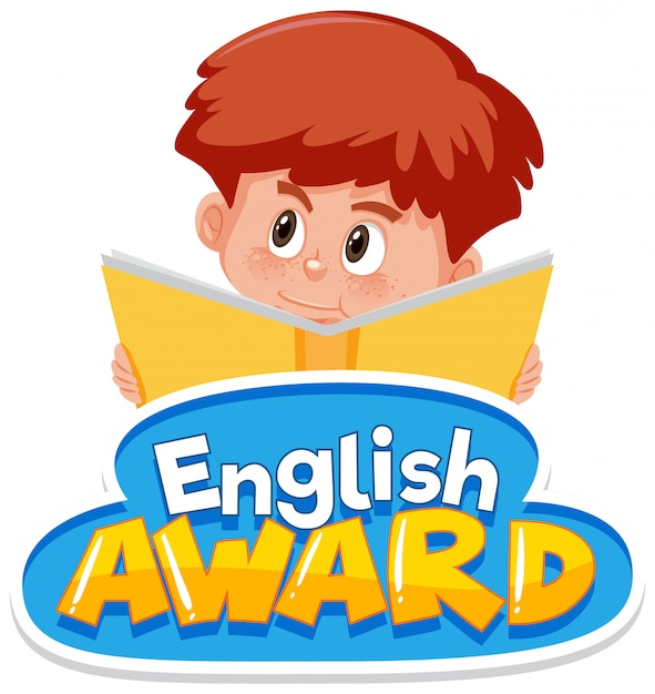 Font design for english award with boy reading book Premium Vector