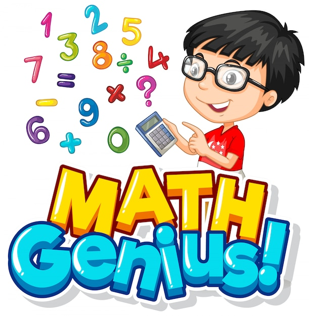 Дизайн шрифта для математического гения с мальчиком и числами Бесплатные векторы
