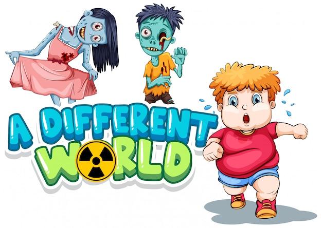 Дизайн шрифтов для слова другой мир с зомби и толстым мальчиком Бесплатные векторы