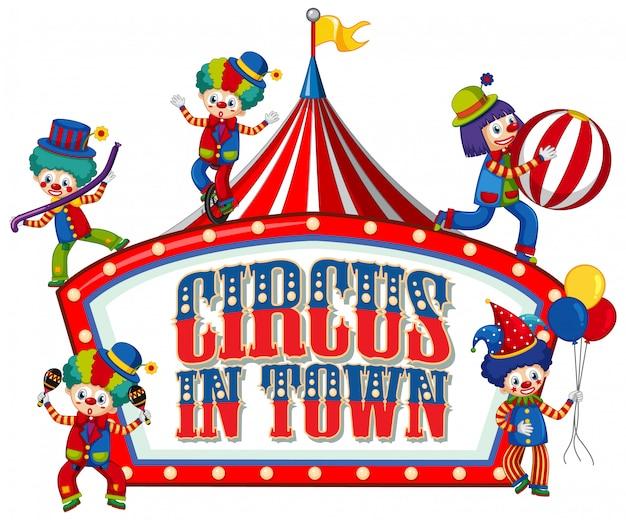 Дизайн шрифта для слова цирка в городе со многими клоунами в цирке Бесплатные векторы
