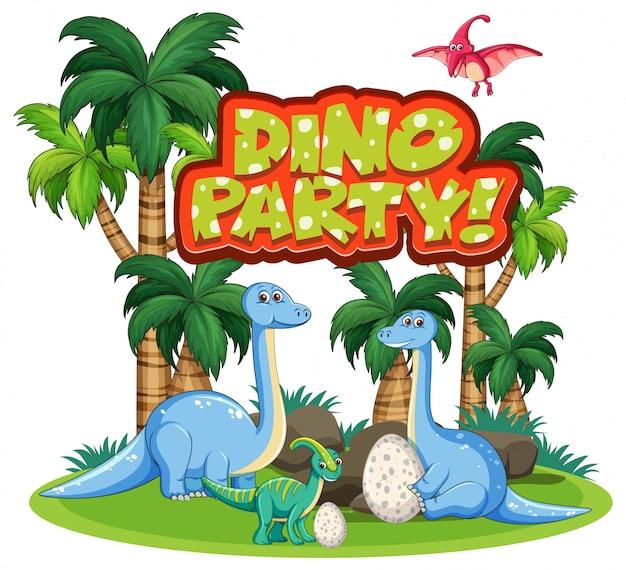 ジャングルの中で恐竜と単語恐竜パーティーのフォントデザイン 無料ベクター
